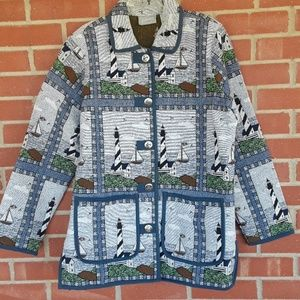 VTg. Nautical tapestry jacket,  sz S